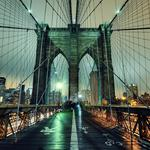 Nyc, new york city, night, brooklyn bridge