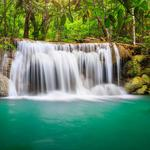 Waterfall flowing water, forest, natural landscape wallpaper