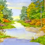 Forest, sky, summer, river, brightly, reeds, paints