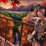 Girl, fall, falling, colors, leaves, trees, bright