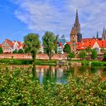 River, houses, cathedral, sky, greens
