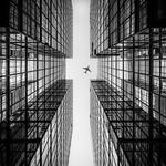 Building, bottom view, facade, bw, airplane