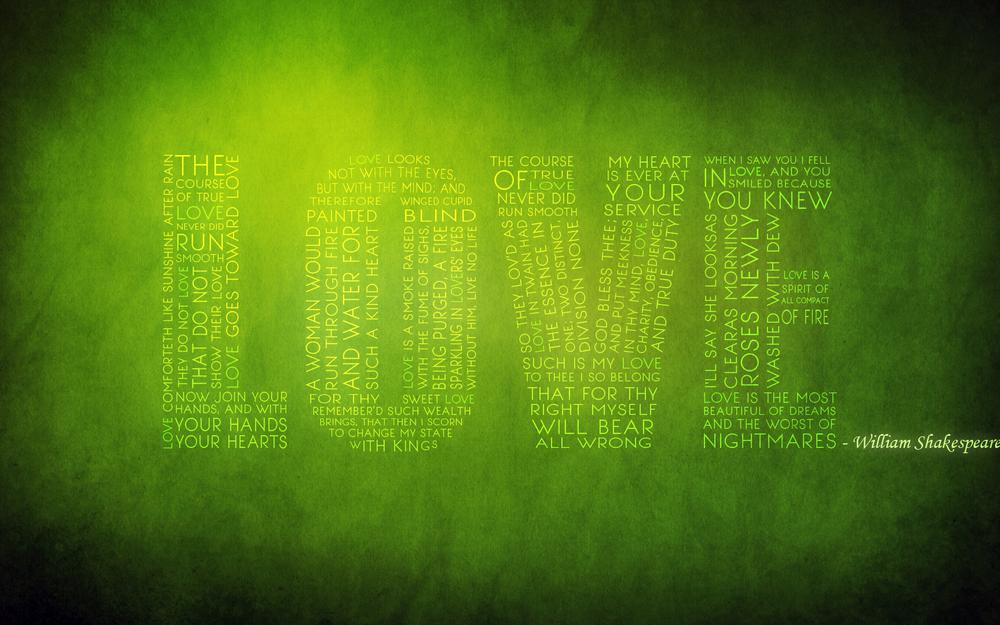 Love text green background