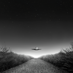 Airplane, takeoff, bw, starry sky