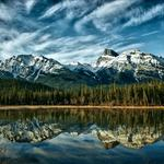 Nature, trees, reflection, mountain, lake, alberta, forest, clouds, sky, blue, canada