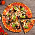 Salami, pizza, spices, cheese, tomatoes, black olives