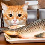 Small yellow, cats, chairs, tables, fish, wallpaper
