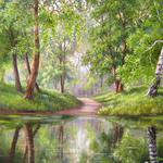 Forest paths, trees, rivers, flowers wallpaper