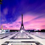 Eiffel tower in pink sunset hd wallpaper