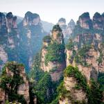 Rocks, trees, china, forest, peaks, mountains