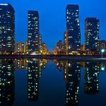South korea, incheon, songdo, widescreen, desktop wallpaper city at night