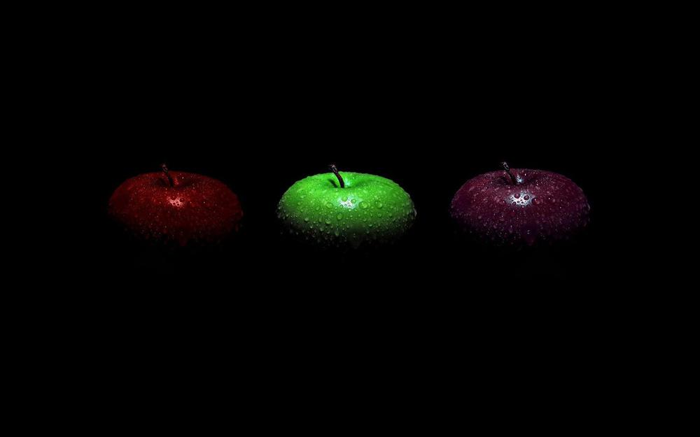 Apples, red, green, shades, black desktop background
