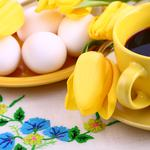 Yellow, eggs, coffee