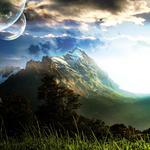 Mountain fiction planet in the sky