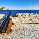 Walls, travel, view, gun, cannon, my planet, the adriatic sea coast, wallpaper., budva, summer, montenegro, the middle ages, based 2500let ago