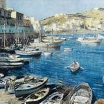 Cityscape, boats, painting, edouard sigaud, a mediterranean port, houses, quay