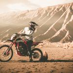 Motorcycle, motorcyclist, mountains, sand, cross, off-road