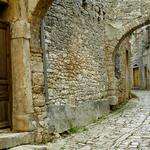 Pavement, stone, aging, shutters, house, street, arch