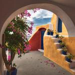 "Greece, building, arch, flowers, cactus, mixed wallpaper ""architecture, stairs"