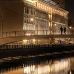 River, people, quay, moscow, night, bridge, water