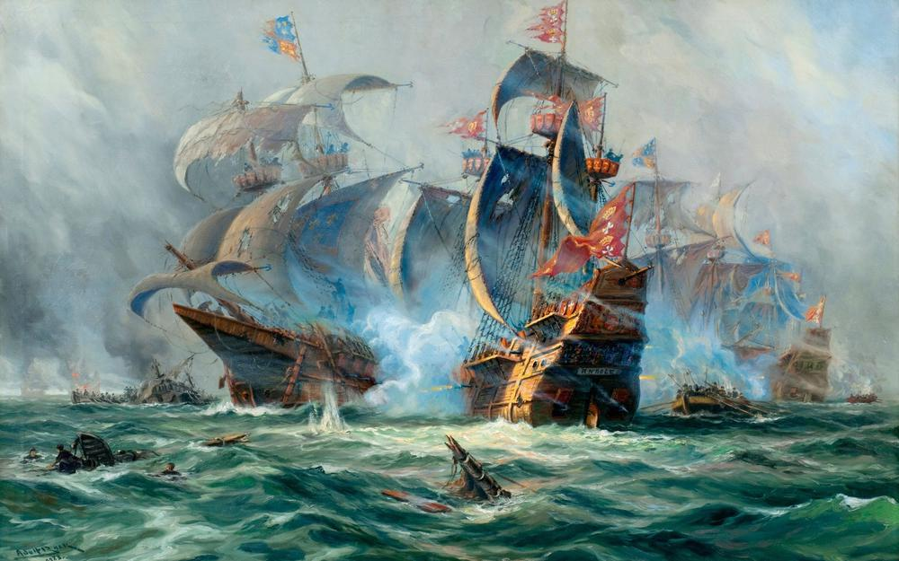 Crafts, painting, sailboats, battle, adolf bock, picture