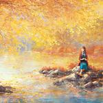 Beautiful, autumn, river, girl, waiting, wallpaper