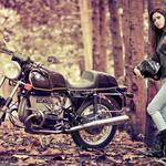 Girl motorcycle autumn leaves trees desktop background
