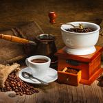 Coffee grinder, coffee, turk, chocolate, bags, table