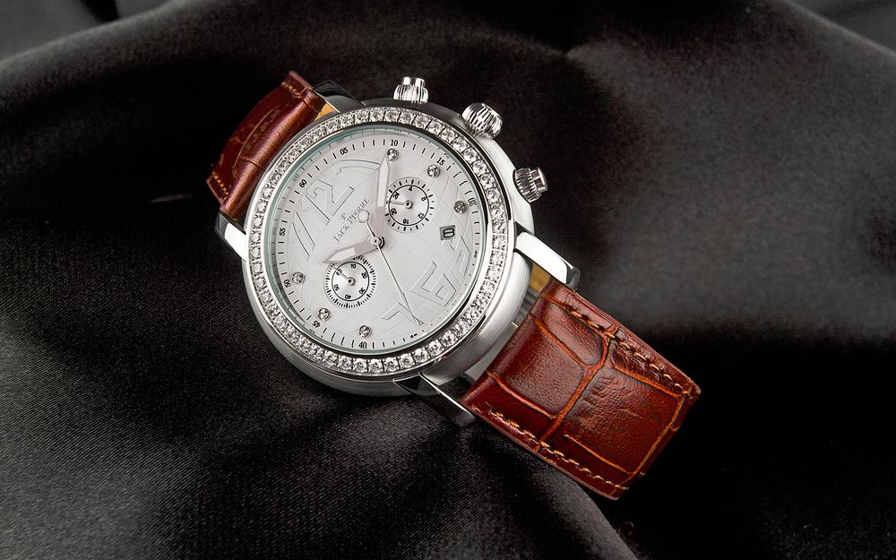 Jack pierre, leather and diamonds, watch