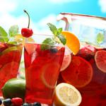 Mint, strawberry, lime, pitcher, cherry, glass, fruits