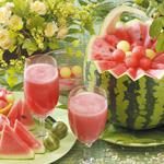 Glasses, gooseberry, melon, juice, flowers