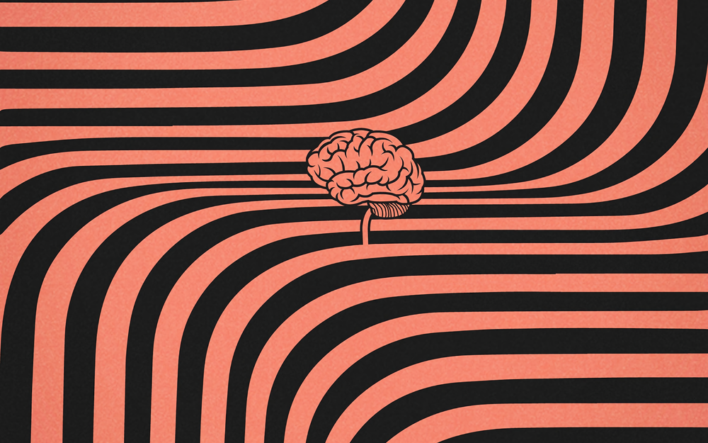 Wavy, lines, brain desktop background