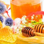 Spoon, honey, honey, wood, honeycomb, flowers