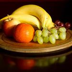 Food, bananas, grapes, apple