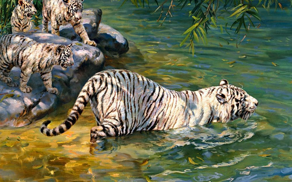 Art, donald grant, tiger, white