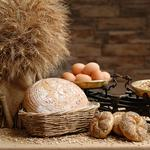Scales, meal, mortar, cereals, muffins, bread, eggs