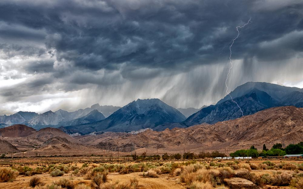 Mountains, near bishop, rain, nevada, eastern sierra, desert monsoon, ca