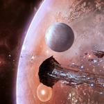 Space fleet, stars, planets, asteroids, ships, eve online