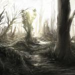 Trunks, forest, trees, nature, art, thicket