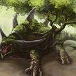 Turtle, a monster, art, fantasy, giant, tree