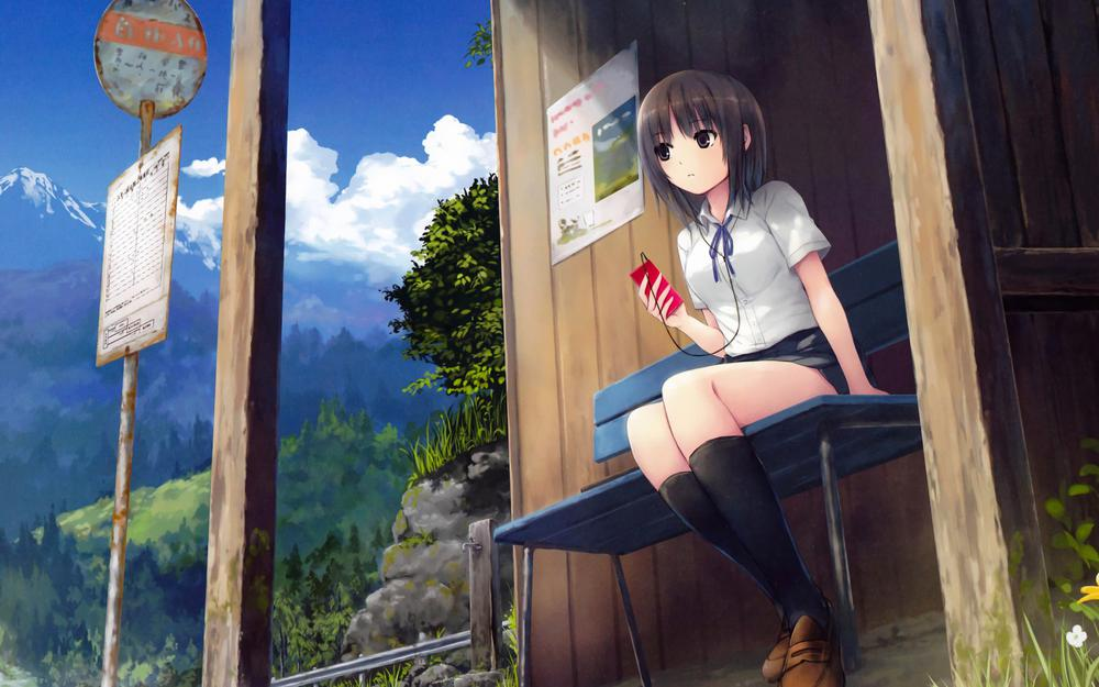 Coffee aristocracy, girls, music, chairs, stations, animation landscape wallpaper