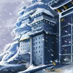 Torch, castle, blizzard, building, flag, gates, winter