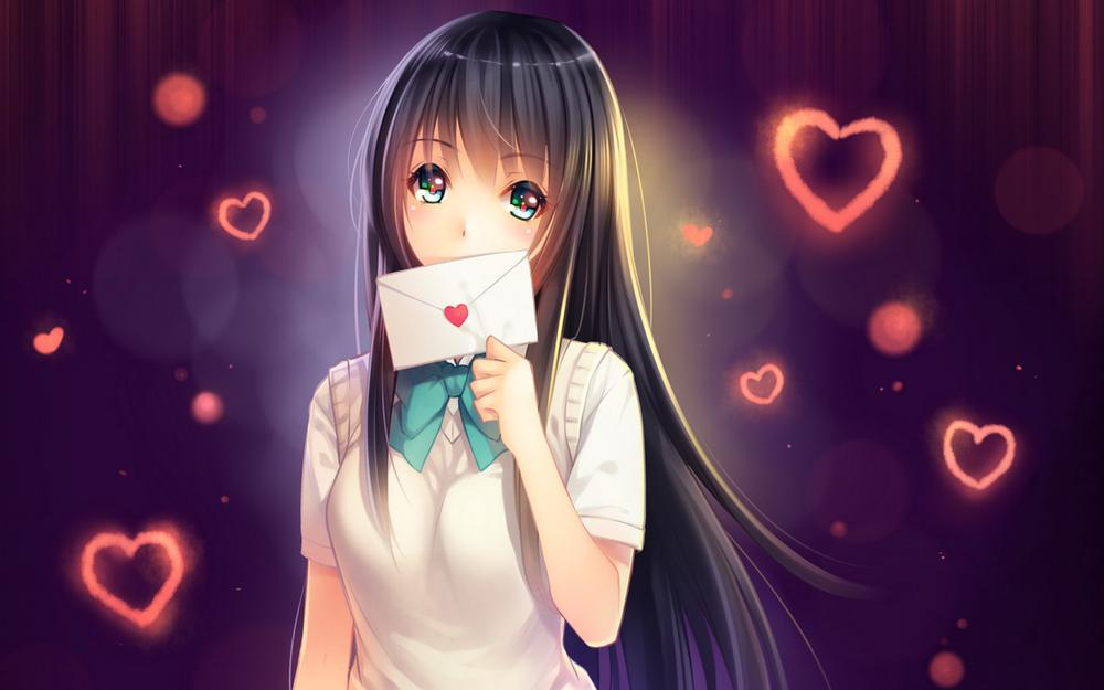 Love letter addressed to you, cartoon girl, cute, beautiful, love, wallpaper