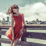 Europe personality beautiful, red skirt, nice figure, float hair, beautiful wallpaper