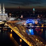buildings, Cologne Cathedral, architecture, night, Hohenzollern Bridge, Rhine River, cityscape, Cologne, Germany