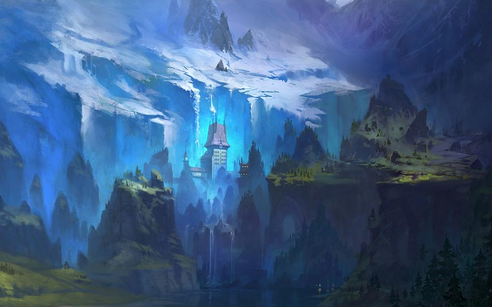 Castle valley, snow, waterfalls, mountains