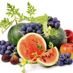 Grapes, apples, fruit, white background, watermelon, berries, red