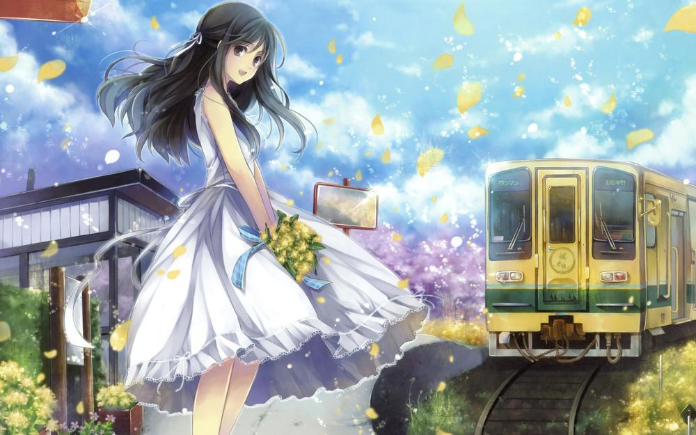 Girl, long hair, trains, bouquet picture, nice animation wallpaper