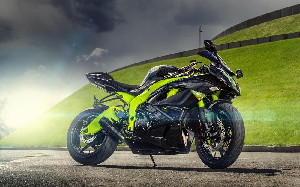 Motorcycle green road hill wallpaper