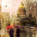 City, st. petersburg, through the rain-drenched glass